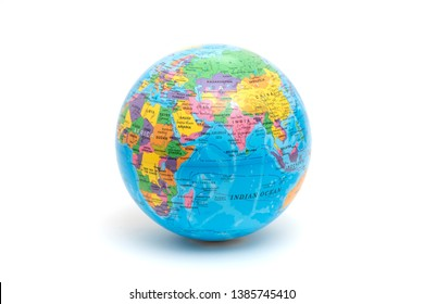 ISTANBUL, TURKEY - APRIL 15, 2019. World globe ball on the white background.