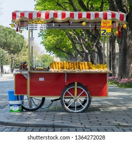 Istanbul, Turkey - April 16, 2017: Traditional Turkish chestnut and corn cart in Sultan Ahmed Square