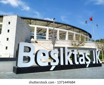 ISTANBUL, TURKEY, APRIL 16, 2019: Besiktas Jk. logo in front of Vodafone Park, formerly BJK Inonu Stadium, an all-seater, multi-purpose stadium and the home ground of Beşiktaş JK.
