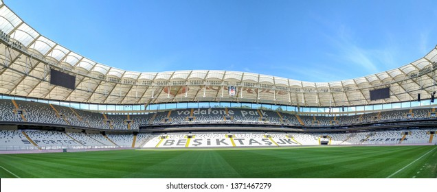 ISTANBUL, TURKEY, APRIL 16, 2019: Panoramic soccer field view from Vodafone Park, formerly BJK Inonu Stadium, an all-seater, multi-purpose stadium and the home ground of Beşiktaş JK.