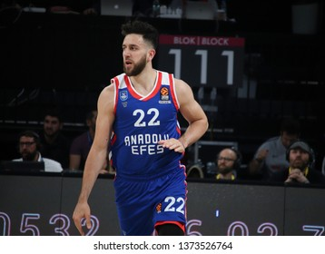 ISTANBUL / TURKEY - APRIL 17, 2019: Vasilije Micic during Turkish Airlines EuroLeague 2018-19 Play-Off game 1 Anadolu Efes vs Barcelona Lassa at Sinan Erdem Dome.