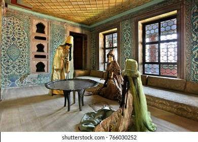ISTANBUL, TURKEY- April 18, 2009. One of the chambers that belonged to Valide Sultan (Sultan's mother) in the Harem of Topkapi Palace