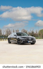Istanbul, Turkey -April 18 2021 : Mercedes-Benz S-Class is a series of luxury flagship vehicles produced by the German automaker Mercedes-Benz. Mercedes S 400 d is parked on the road.