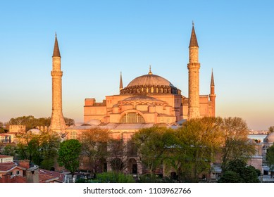 ISTANBUL, TURKEY - APRIL 19, 2018: View of Hagia Sophia in Istanbul, Turkey. This place is a great architectural beauty and an important monument both for Byzantine and for Ottoman Empires.