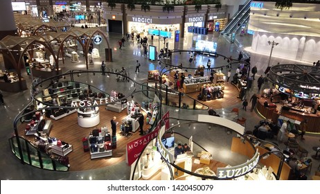 Istanbul, Turkey - April 19, 2019: shopping mall in new Istanbul International Airport. The Istanbul Yeni Havalimani airport is the main hub of Turkish Airlines since 2018. aerial view