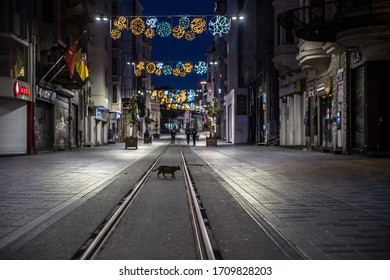 Istanbul, Turkey - April 19, 2020: Shows the deserted Istiklal street at Taksim district in Istanbul, during a two-day curfew to prevent the spread of the epidemic COVID-19 caused by the novel coron