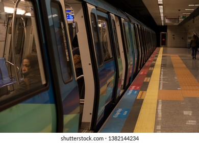 Istanbul/ Turkey - April 19,2019 ; the view from underground transportation subway in Istanbul.people sitting in the train.