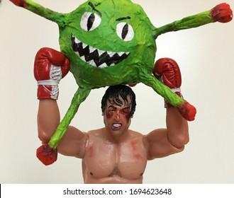 Istanbul, Turkey - April 2, 2020: Rocky Balboa VS the virus.