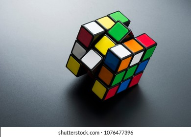 ISTANBUL - TURKEY - APRIL 20, 2018: Rubik's cube on the black background. Rubik's Cube invented by a Hungarian architect Erno Rubik in 1974.