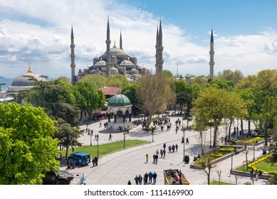 ISTANBUL, TURKEY - April 20, 2018: View of Sultan Ahmet Mosque (Blue Mosque) in Istanbul. It is the tourist attraction and was constructed between 1609 and 1616 during the rule of Ahmed I.