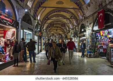 "ISTANBUL, TURKEY - APRIL, 2013: The crowded interior of the ""grand bazaar"""