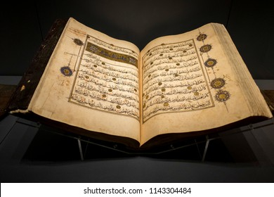 ISTANBUL - TURKEY, April, 2017, The Qur'an from the Mamluk period. The Museum of Turkish and Islamic Arts