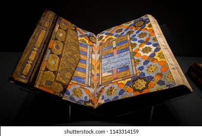 ISTANBUL - TURKEY, April, 2017, The Qur'an from the Safavid period. The Museum of Turkish and Islamic Arts