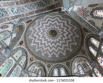 ISTANBUL, TURKEY - APRIL 2018: Interior view of the tomb of Sultan Ahmed. The construction of the tomb was completed after three years, in the year 1619.