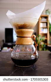 Istanbul, Turkey, April 2020, Making chemex brewed black filter coffee at home during self isolation. Home brewing. Concept for home baristas.