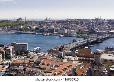 Istanbul, Turkey - April 21, 2016. Istanbul Eminonu view from Galata Tower.