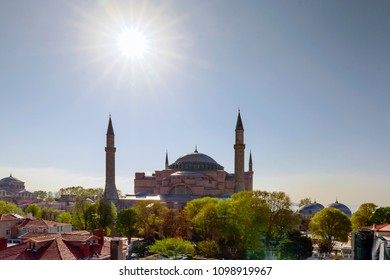 ISTANBUL, TURKEY - APRIL 21, 2018: View of Hagia Sophia in Istanbul, Turkey. This place is a great architectural beauty and an important monument both for Byzantine and for Ottoman Empires.