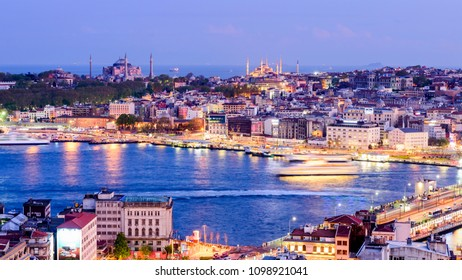 ISTANBUL, TURKEY - April 21, 2018: Panoramic view of Istanbul from Galata Tower. It is a medieval stone tower in the Galata/Karaköy quarter of Istanbul, Turkey.