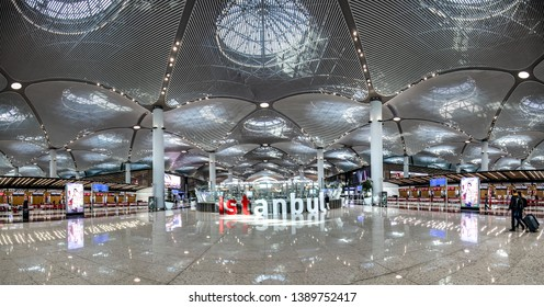 Istanbul / Turkey - April 21, 2019; New Istanbul Airport Terminal. Third Istanbul Airport. Panaroma