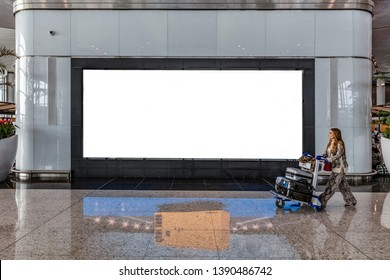 Istanbul / Turkey - April 21, 2019; New Istanbul Airport Terminal. Third Istanbul Airport. Advertising board in the lounge.