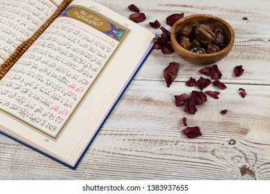 Istanbul / Turkey - April 22,2019 ; Koran- holy book quran in the mosque for Muslims holiday, Ramadan,blessed Friday message.