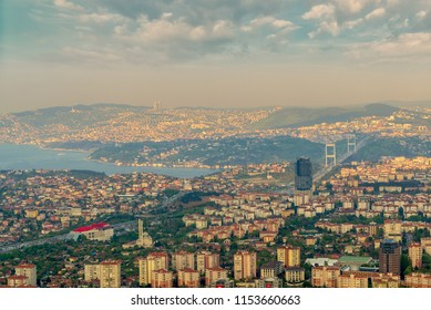 Istanbul, Turkey - April 23, 2017: Istanbul city view from Istanbul Sapphire skyscraper overlooking the Bosphorus before sunset, Istanbul, Turkey