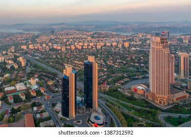Istanbul, Turkey - April 23, 2017: Istanbul city view from Istanbul Sapphire skyscraper overlooking the Bosphorus before sunset