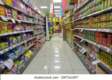 Istanbul, Turkey - April 23, 2018: View of a aisle Show a supermarket. The Show supermarket chain operates throughout Turkey.