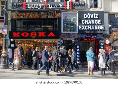 Istanbul, Turkey - April 23, 2018: People walk along a busy shopping street in the city centre.