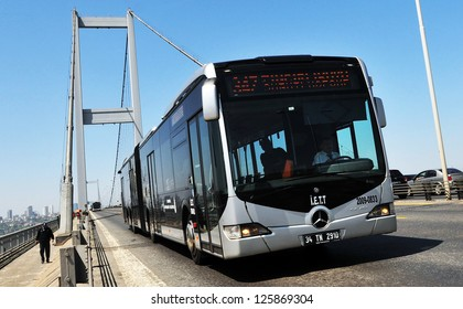 ISTANBUL, TURKEY - APRIL 23: Metrobus, a part of public transportation system, eases the traffic in Istanbul on April 29, 2012 in Istanbul, Turkey.