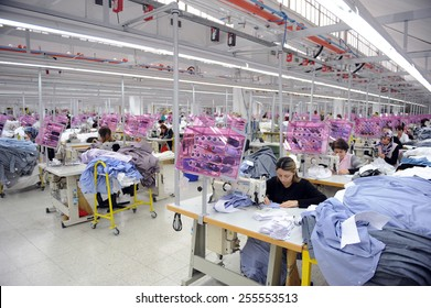 ISTANBUL, TURKEY - APRIL 24, 2011: unidentified workers are working in a textile factory on April 24, 2011 Istanbul,Turkey