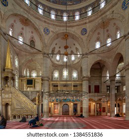 Istanbul, Turkey - April 24, 2017: Interior of Eyup Sultan Mosque situated in the Eyup district, outside the city walls near the Golden Horn, dates from the beginning of the 19th century