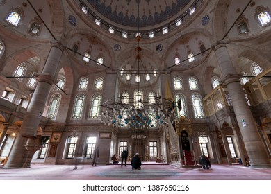 Istanbul, Turkey - April 24, 2017: Interior of Eyup Sultan Mosque situated in the Eyup district, outside the city walls near the Golden Horn
