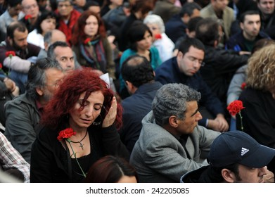ISTANBUL, TURKEY - APRIL 24: Armenians across the world gather together to commemorate the Armenian Genocide of 1915. This demonstration took place April 24, 2010 in Istanbul, Turkey.