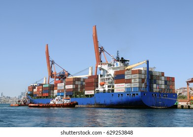ISTANBUL, TURKEY - APRIL 25, 2017:Cargo ship, containers and cranes in Haydarpasa sea port