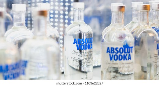 Istanbul, Turkey - April 25, 2018: bottles of Absolut Vodka on a shelf of a duty free shop in Istanbul Ataturk Airport.