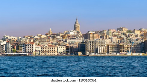 Istanbul, Turkey - April 26, 2017: City view of Istanbul, Turkey from the sea overlooking Galata Tower and Karakoy district