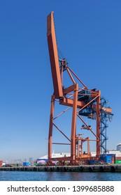 Istanbul, Turkey - April 26, 2017: Crane at the shipyard of the Port of Haydarpasha