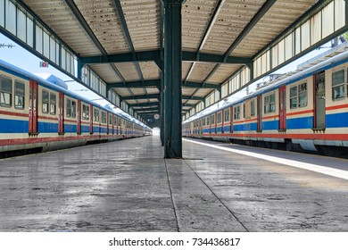 Istanbul, Turkey - April 26, 2017: Haydarpasha Railway Terminal with metal truss and two stopped trains in Kadikoy district built 1909, closed in 2013 due to rehabilitation of Marmaray line