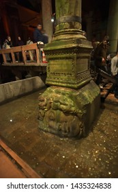 Istanbul, Turkey - April, 26, 2019: Gorgon Medusa head in The Basilica Cistern