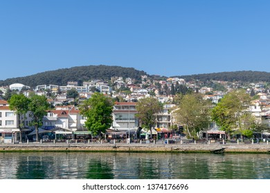 Istanbul, Turkey - April 27, 2017: View of Heybeliada island from the sea with summer houses. the island is the second largest one of four islands named Princes Islands in the Sea of Marmara