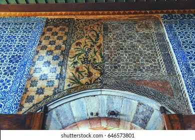 ISTANBUL, TURKEY - APRIL 27, 2017: Fragment of interior of Hunkar Pavilion in The New Mosque with a few type of ornament