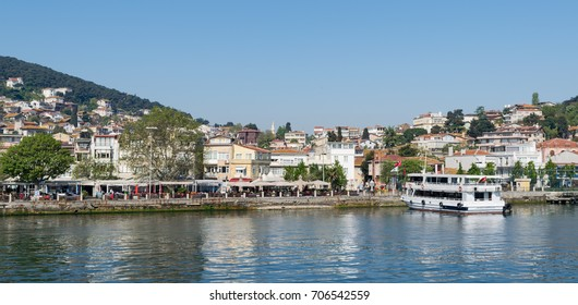 Istanbul, Turkey - April 27, 2017: View of Heybeliada island from the sea with summer houses. the island is the second largest one of four islands named Princes' Islands in the Sea of Marmara