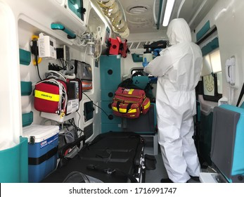 ISTANBUL, TURKEY - APRIL 27, 2020: Ambulance carrying the patient with coronavirus is disinfected