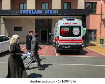 ISTANBUL, TURKEY - APRIL 27, 2020: During the coronavirus quarantine. Bagcilar State Hospital ambulance in front