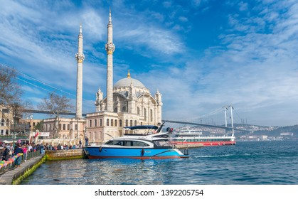 Istanbul, Turkey - April 28, 2019: View of  Ortakoy mosque and Bosphorus bridge in Besiktas. Located at the waterside of the Ortakoy pier square, one of the most popular locations on the Bosphorus
