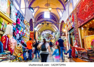 ISTANBUL, TURKEY - April 28, 2019:  Istanbul Grand Bazaar is the most famous covered market in the world. Istanbul, Turkey