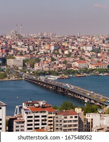 ISTANBUL, TURKEY APRIL 28: The Ataturk Bridge over the Bosphorus on April 28, 2012 in Istanbul, Turkey prior to Anzac Day.  The Bosphorus divides Turkey between Europe and Asia.