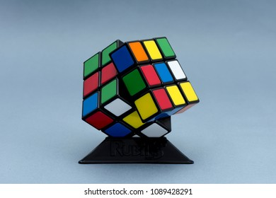 ISTANBUL - TURKEY - APRIL 29, 2018: Rubik's cube on the black background. Rubik's Cube invented by a Hungarian architect Erno Rubik in 1974.