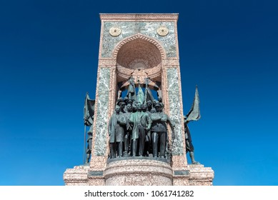 ISTANBUL, TURKEY - APRIL 3, 2018: Republic Monument at Taksim Square on April 3, 2018 in Istanbul. Its located at Taksim Square in Istanbul, to commemorate the formation of the Turkish Republic in 192